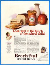 """Vintage 1924 Beech-Nut Peanut Butter """"Lunch of the School Child"""" Color Print Ad"""