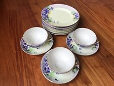 Lot of 12 VTG TT Takito Hand Painted Salad Plates, Tea Cup & Saucers~Japan
