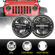 """Pair 7"""" Round LED Headlights Halo Angle Eyes For Jeep Wrangler JK Hummer H1 H2"""