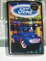 New Windproof Zippo Lighter 80310 Ford Oval Vintage Blue Pickup Truck St Ch Case