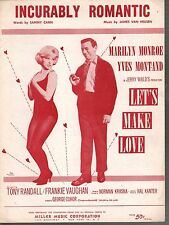 Incurably Romantic 1960 Marilyn Monroe Yves Montand Let's Make Love Sheet Music