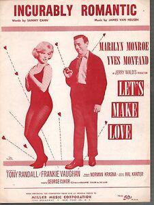 Incurably Romantic 1960 Marilyn Monroe Yves Montand Let's Make Love Sheet Music