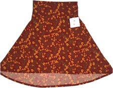 LuLaRoe Azure Skirt Hi Lo Medium Orange Yellow Floral Print Spring Stretch