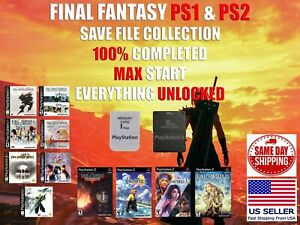 Final Fantasy X X-2 PS1 PS2 Save Collection Memory Card 100% Completed Unlocked