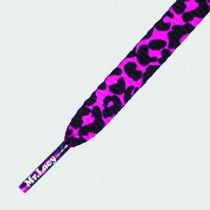 Laces Mr Lacy Printies Flat Printed Shoelaces Pink / Black Leopard high quality