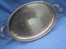 VINTAGE OVAL SILVER PLATE GALLERY TRAY WITH HANDLES BY CAVALIER PLATE ENGLAND