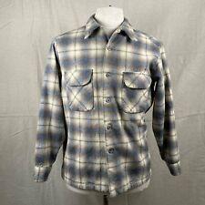 Vintage Grey and Tan Shadow Plaid Pendleton Board Shirt SZ L