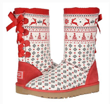 """Women's Uggs Christmas/Holiday Sweater """"Bailey Bow"""" Boots Size 9, New With Box"""