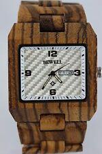 Bewell Holzuhr Herrenuhr Tag-Datum Zebranoholz 45X50mm Top Geschenk Armbanduhr