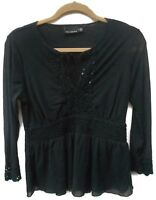 Women's The Limited Black Long Sleeve Sheer Overlay Blouse Size Medium Regular