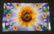 "2 SAME RARE EXTRA LARGE KITCHEN VINYL SEMI CLEAR PLACEMATS, SUNFLOWERS, 22""x 38"""