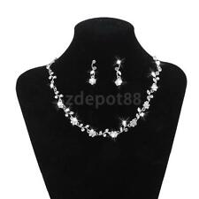 Wedding Bridal Party Jewelry Crystal Rhinestone Flower Necklace Earring Set