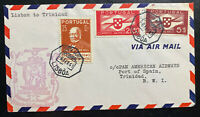 1941 Lisbon Portugal First Flight Airmail Cover FFC To Port Spain Trinidad