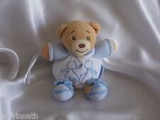 Doudou ours bleu et blanc, personnages, attache tétine, Kaloo
