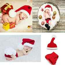 Newborn Baby Girl Boys Knit Hat Christmas Pants Santa Outfits Costume Photo Prop
