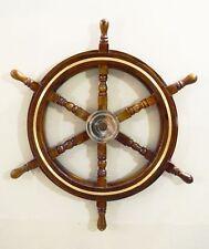 "30"" Vintage Boat Ships Captains Nautical Beach Ship Wheel Brass Ring Wall Decor"