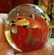Tiny Fish Swimming Inside Art Glass Ball Paperweight Coral Seaside Beach House