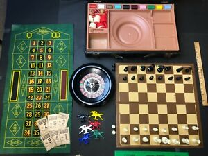 Lowe Gaming Set Vintage Antique Casino Roulette Chess Backgammon Horse Racing