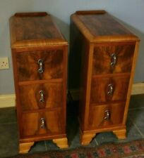 GOOD QUALITY ART DECO 1920s FIGURED BURR WALNUT PAIR OF BEDSIDE CABINETS DRAWERS