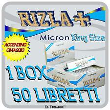 CARTINE RIZLA MICRON SLIM LUNGHE 50 LIBRETTI 1600 Fogli - King Size