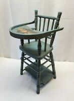 "Vintage Antique Doll Dollhouse High Chair Wood Salesman Sample 20"" Folk Art Old"