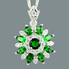 Round Green Emerald 18K White Gold Plated Flower Pendant Necklace Curb Chain