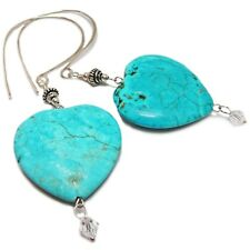Sterling Silver Dyed Howlite Heart and Swarovsky Crystal Earrings By SoniaMcD