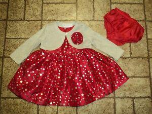 Bonnie Baby Christmas Dress Set. Sz. 3-6 Mos. Beautiful!