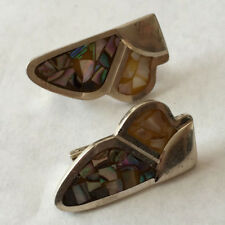 Vintage sterling silver black and white mother of pearl inlay earrings Lot 222D