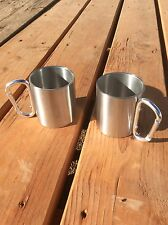 (1) military army type metal cup with carabineer camping survival cup hiking