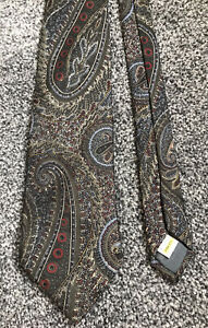 Marks and Spencer vintage green paisley geometric 100% silk classic tie
