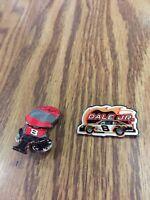 DALE EARNHARDT JR #8  BOBBLE HEAD AND RACE CAR NASCAR RACING HAT PINS