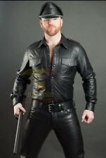 Men's Genuine Leather Black Police Lederhemd Shirt Bluf Cuir Schwarz Gay