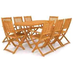 vidaXL Mobilier de Jardin 9 pcs Bois d'Acacia Massif Salon de Jardin Extérieur