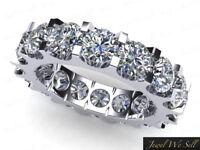 3.40 Ct Round Cut Diamond Shared U-Prong Eternity Band Ring 14k White Gold GH I1