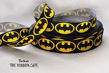 Batman Super Heroes Classic Yellow 22mm Printed Grosgrain Ribbon 2 Metres
