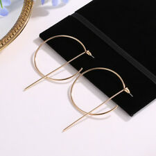 Fashion Women Gold Silver Plated Big Circle Smooth Large Ring Ear Hoop Earrings