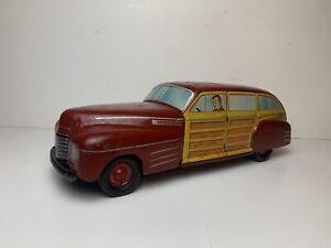 """Vintage Large 21""""! WYANDOTTE TOYS TOYTOWN ESTATE WOODY WAGON Pressed Steel & Tin"""