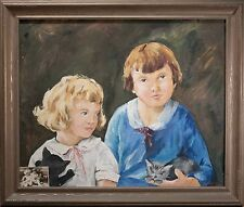 Antique Oil Painting of Two Girls Holding Kittens, Signed w/ Original Photo!