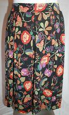 LuLaRoe Madison Pleated Skirt Hidden Pockets Knee Length Floral Black Purple Sm
