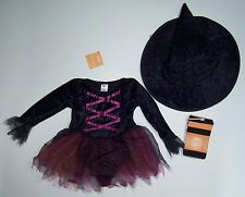 NWT Gymboree 2T-3T Witch Halloween Costume Pointy Hat & Orange Stripe Tights