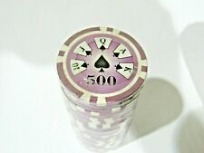 Lot of 25 Purple $500 14g Clay Poker Chips Ace Casino Design