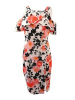 JAX Women's Floral-Print Cold-Shoulder Sheath Dress 2, White/Orange/Black