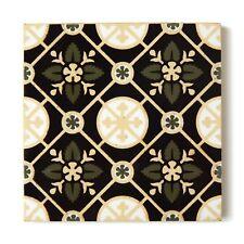 Rare Antique Tile Glaze Encaustic Gothic Victorian Floral Fireplace Hearth Floor