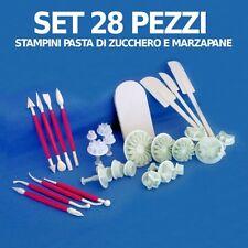 STAMPINI PASTA DI ZUCCHERO SET 28 STAMPI ATTREZZI DECORARE TORTE CAKE DESIGN
