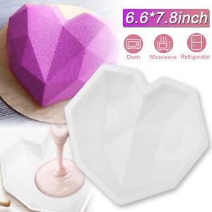 Large Silicone 3D Diamond Heart Shape Mold Mousse Cake Baking Tool Mould Decor