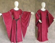 Burgundy Medieval Bell Sleeve Dress Gown Sca Game of Thrones Cosplay Larp 2X 3X