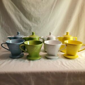 Melitta 102 Porcelain Pour Over w/ Carafe  Blue  Yellow White Red Pink .6L