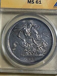 1887 Great Britain 1 Crown Graded MS61 by ANACS!!