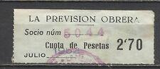 1807-SELLO CUOTA FISCAL BENEFICO LA PREVISION OBRERA.2,70 PESETAS